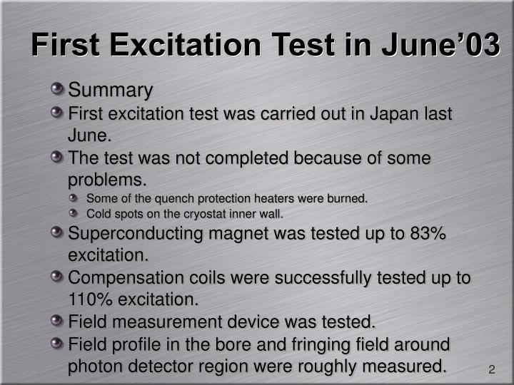 First Excitation Test in June'03