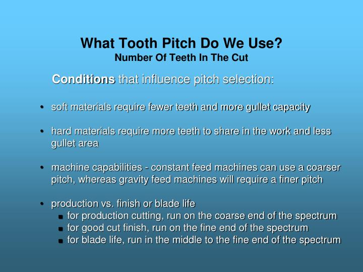 What Tooth Pitch Do We Use?