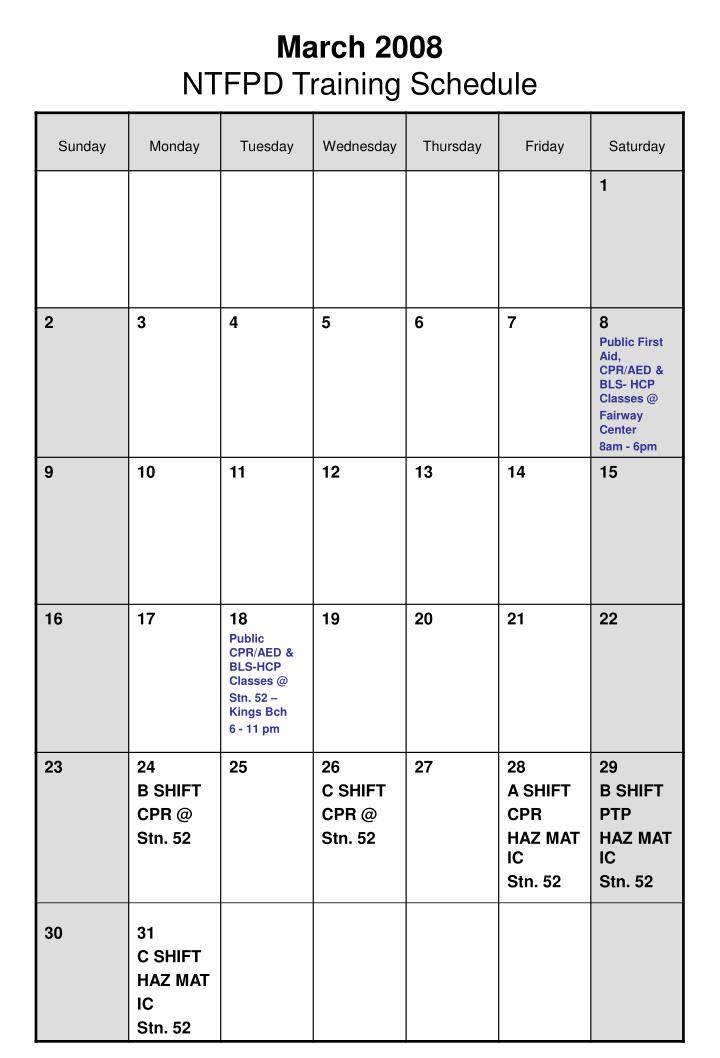 March 2008 ntfpd training schedule