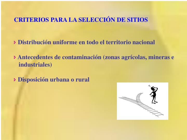 CRITERIOS PARA LA SELECCIÓN DE SITIOS