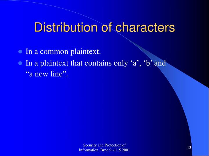 Distribution of characters