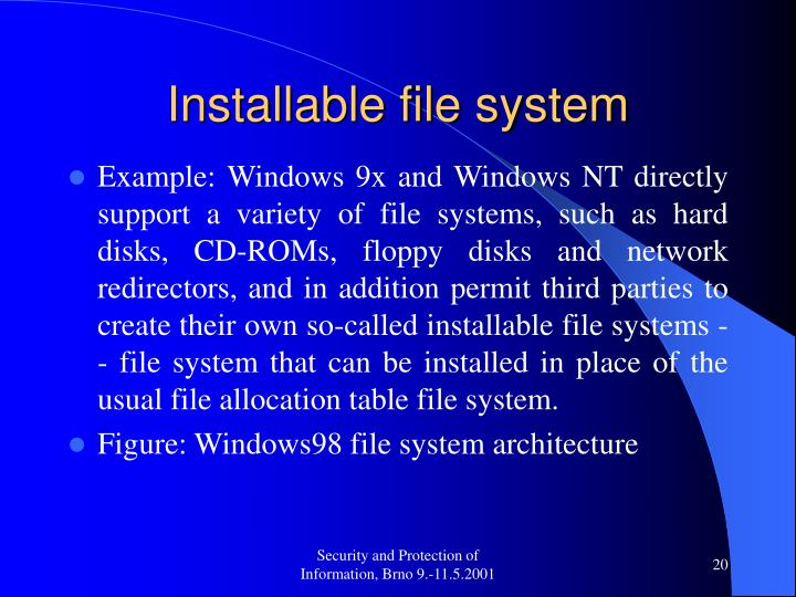 Installable file system