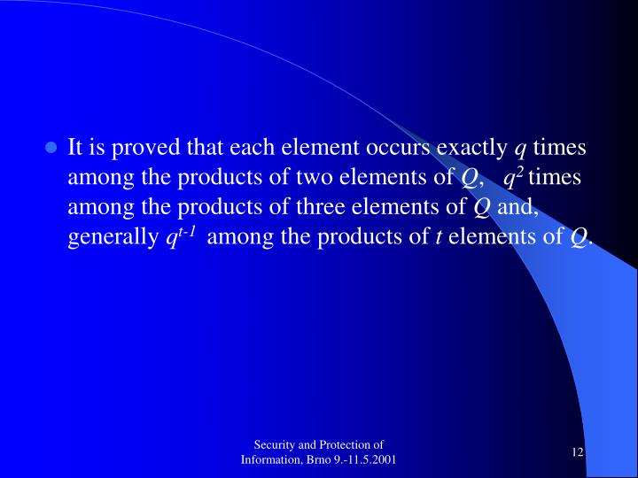 It is proved that each element occurs exactly