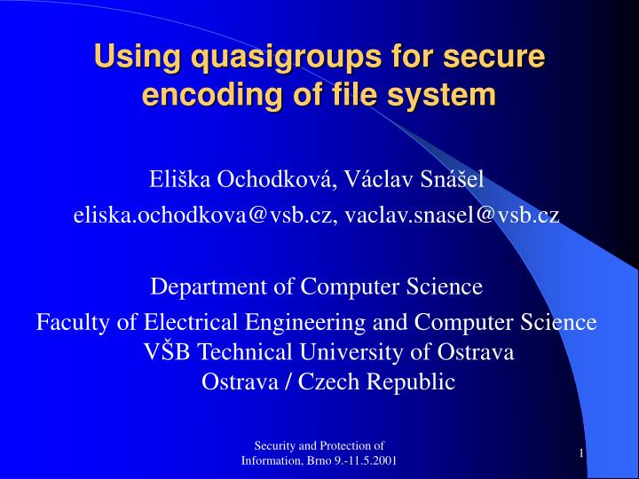 Using quasigroups for secure encoding of file system