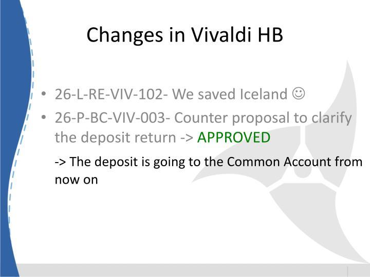 Changes in Vivaldi HB