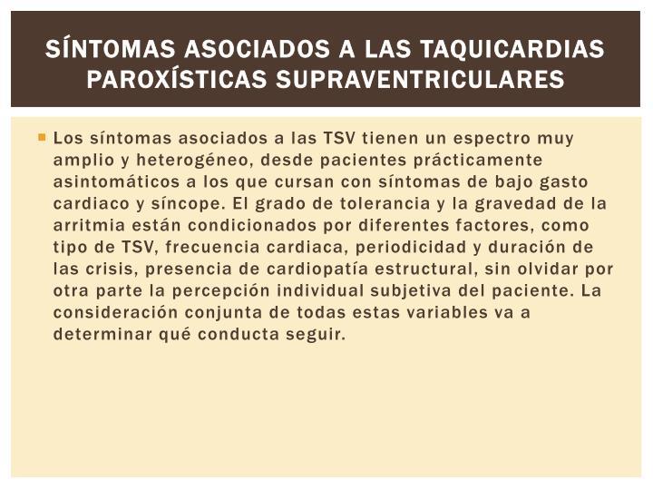 Síntomas asociados a las taquicardias paroxísticas