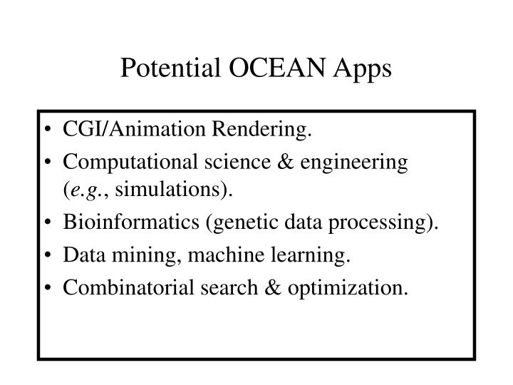 Potential OCEAN Apps