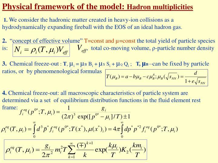 Physical framework of the model: