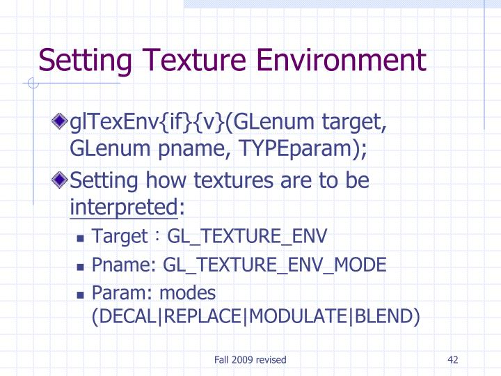 Setting Texture Environment