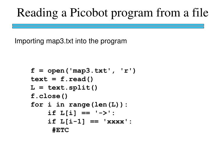 Reading a Picobot program from a file
