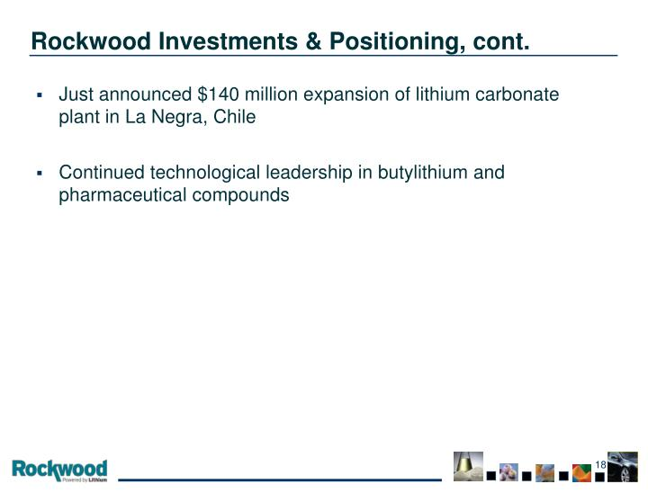 Rockwood Investments & Positioning, cont.