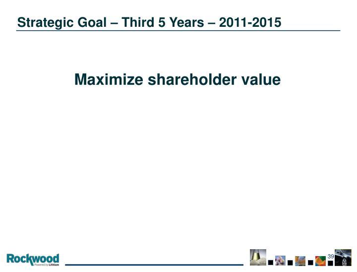 Strategic Goal – Third 5 Years – 2011-2015