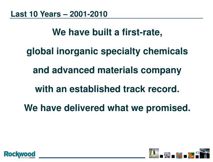 Last 10 Years – 2001-2010