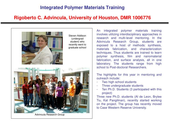 Integrated Polymer Materials Training