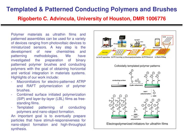 Templated & Patterned Conducting Polymers and Brushes