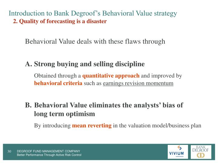 Introduction to Bank Degroof's Behavioral Value strategy