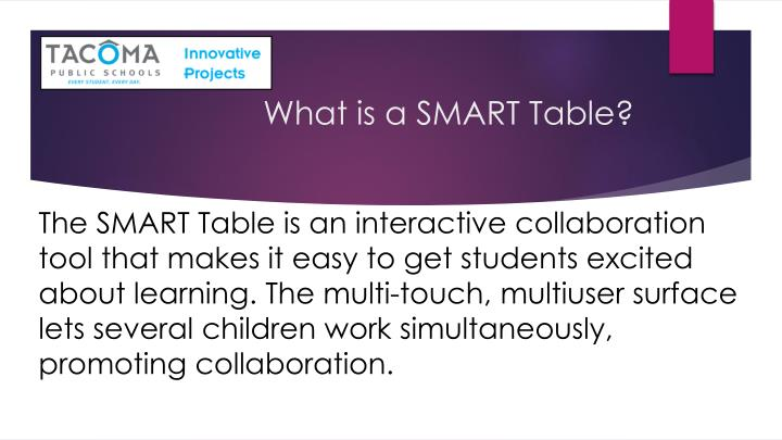 What is a SMART Table?