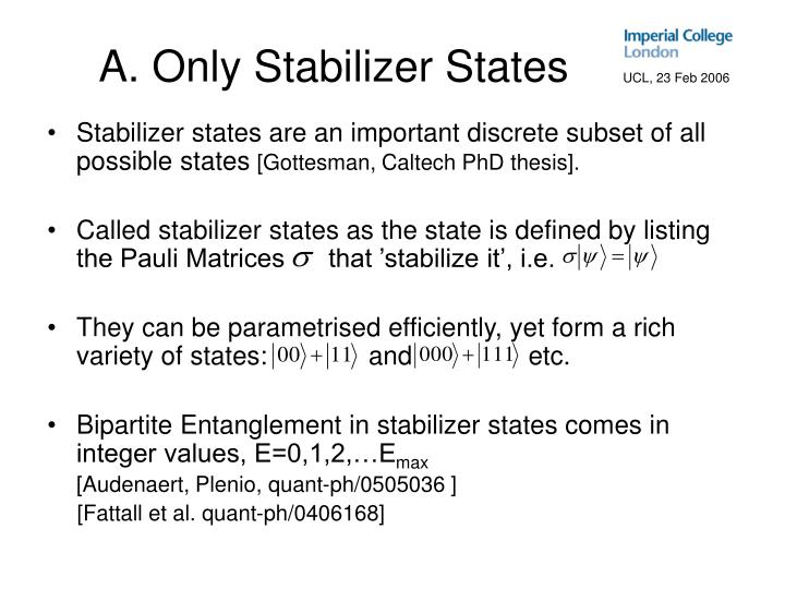 A. Only Stabilizer States