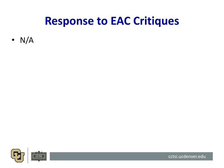 Response to EAC Critiques