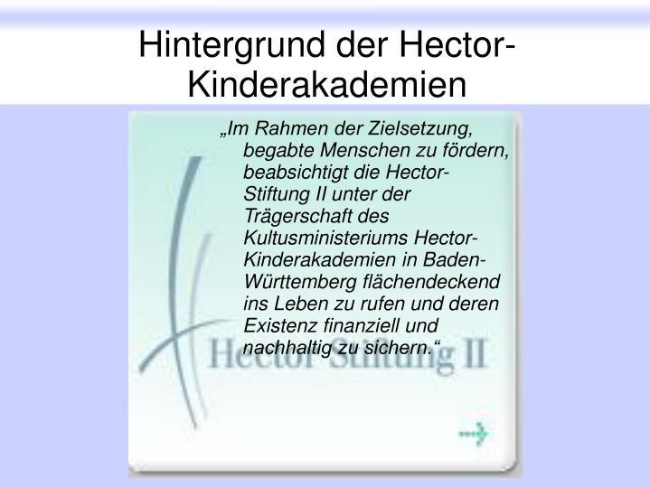 Hintergrund der Hector-Kinderakademien