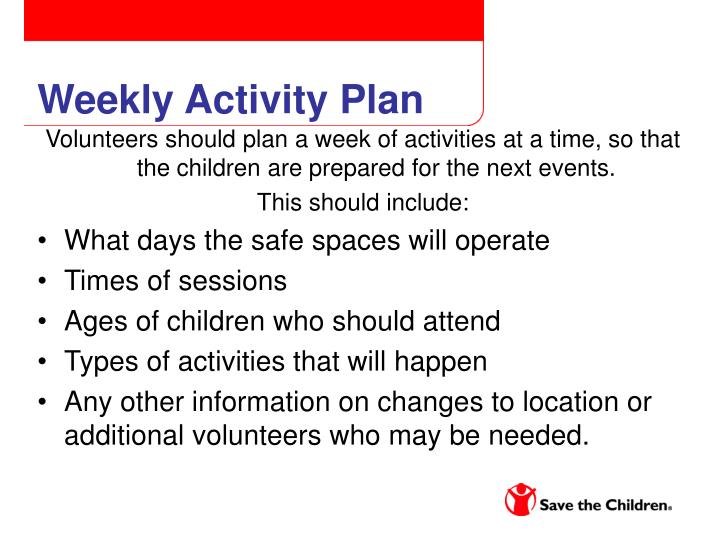 Weekly Activity Plan