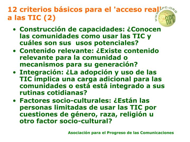 12 criterios básicos para el 'acceso real' a las TIC (2)