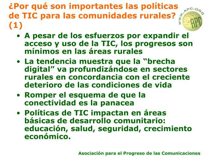¿Por qué son importantes las políticas de TIC para las comunidades rurales? (1)