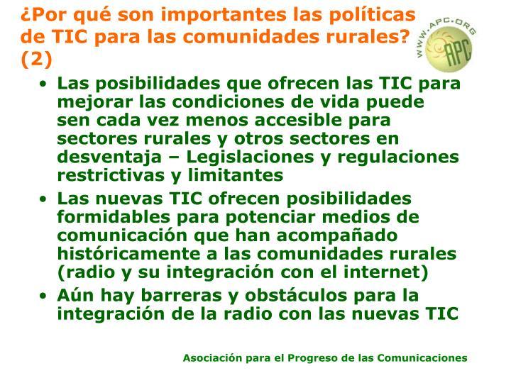 ¿Por qué son importantes las políticas de TIC para las comunidades rurales? (2)