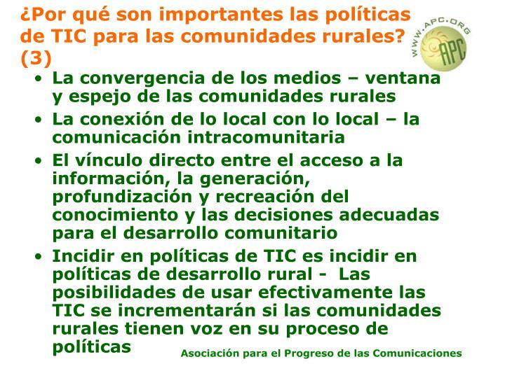 ¿Por qué son importantes las políticas de TIC para las comunidades rurales? (3)