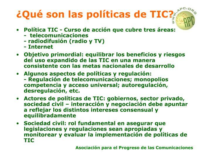 ¿Qué son las políticas de TIC?