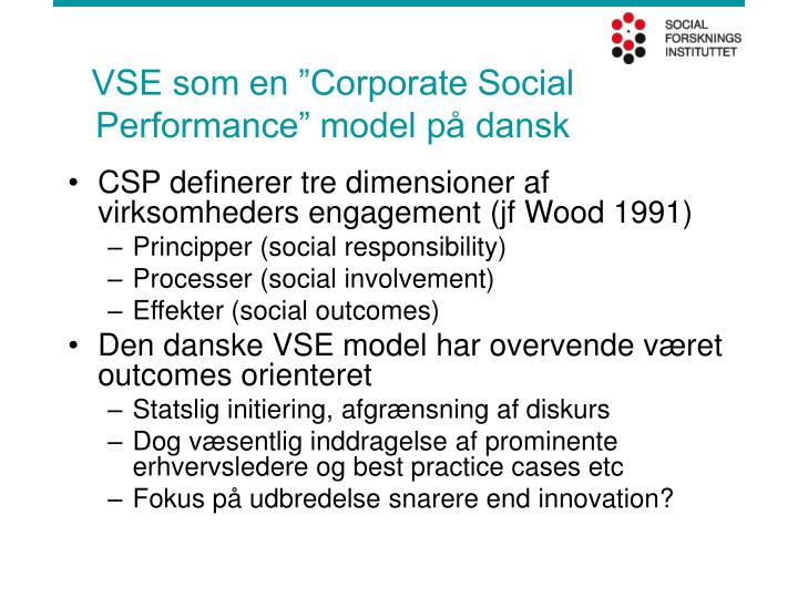 "VSE som en ""Corporate Social Performance"" model på dansk"