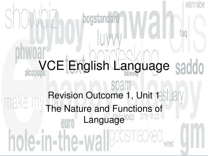 Vce english language