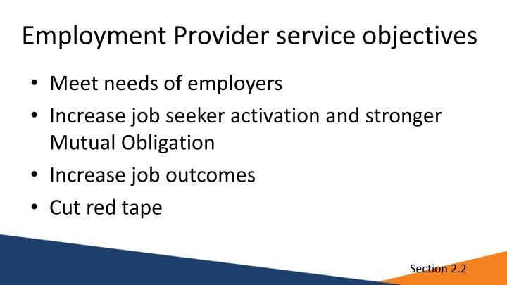 Employment Provider service