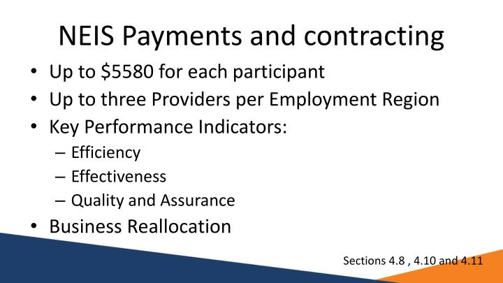 NEIS Payments and contracting