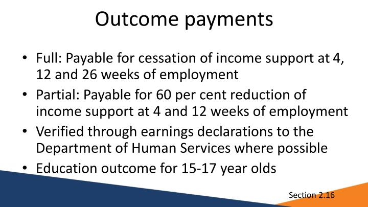 Outcome payments