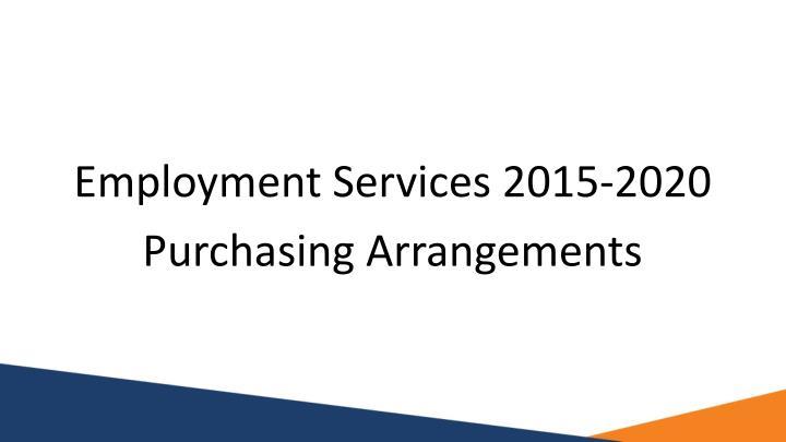 Employment Services 2015-2020