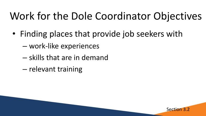 Work for the Dole Coordinator Objectives
