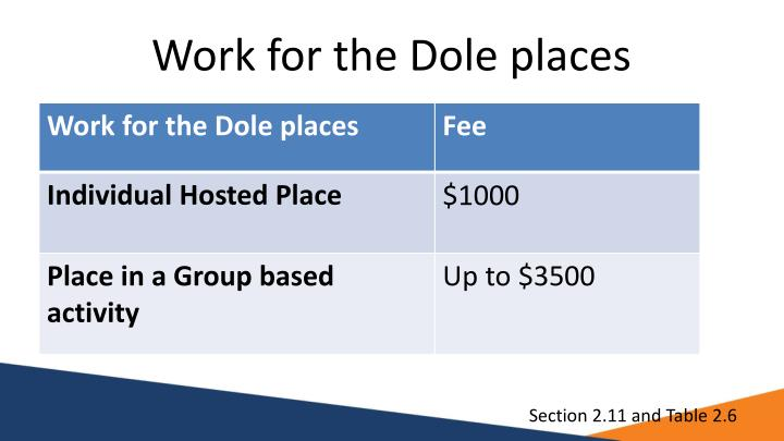 Work for the Dole places