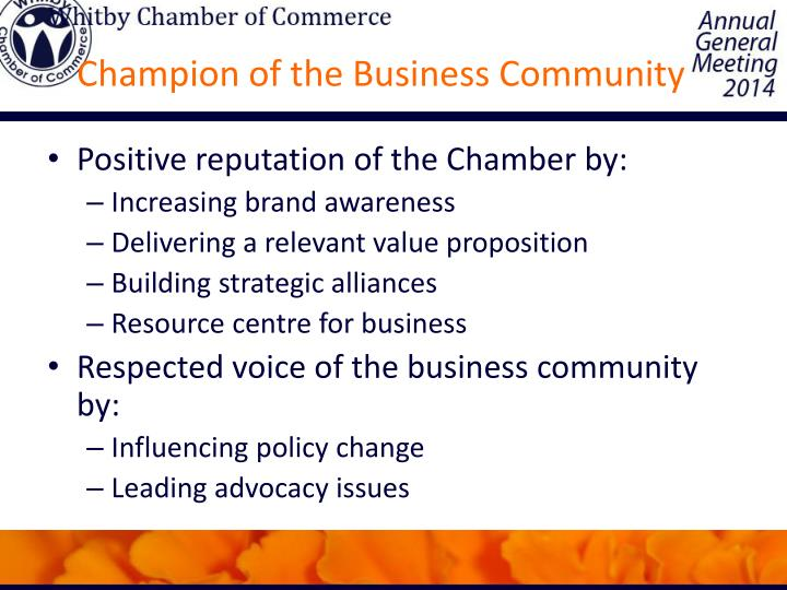 Champion of the Business Community