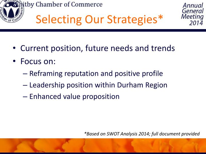 Selecting Our Strategies*