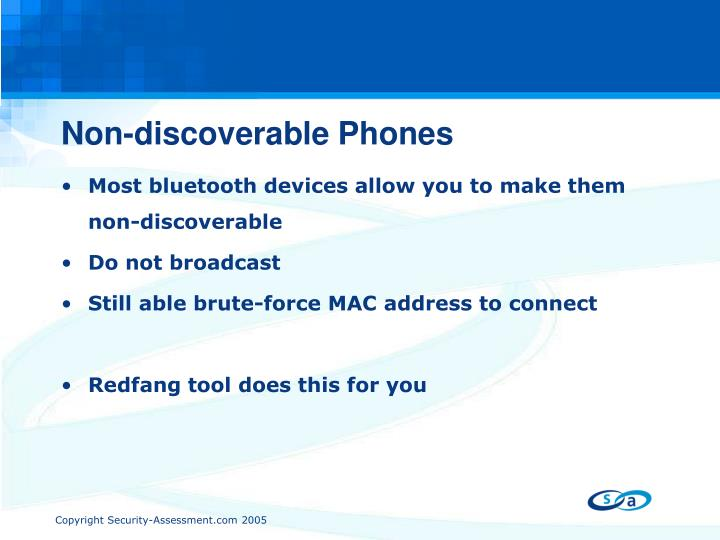 Non-discoverable Phones