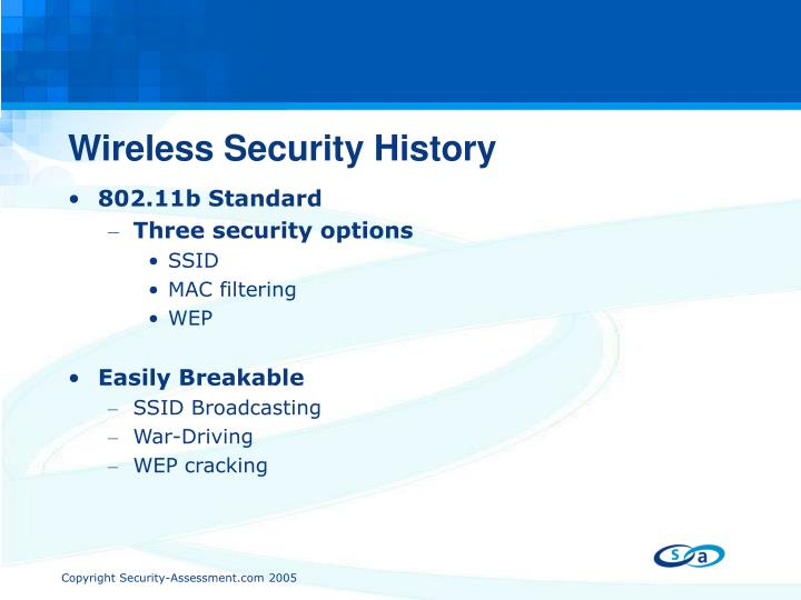 Wireless Security History