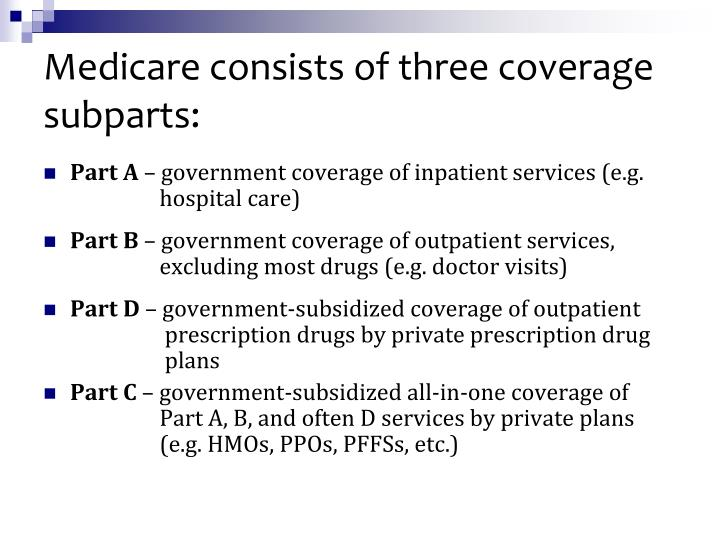 Medicare consists of three coverage subparts