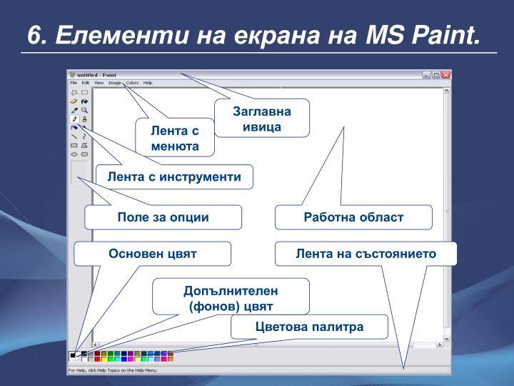 6. Елементи на екрана на