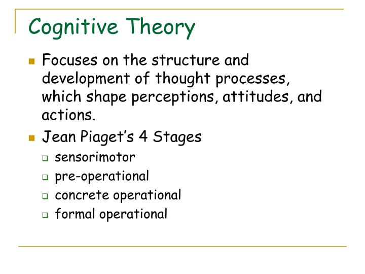 Focuses on the structure and development of thought processes, which shape perceptions, attitudes, and actions.