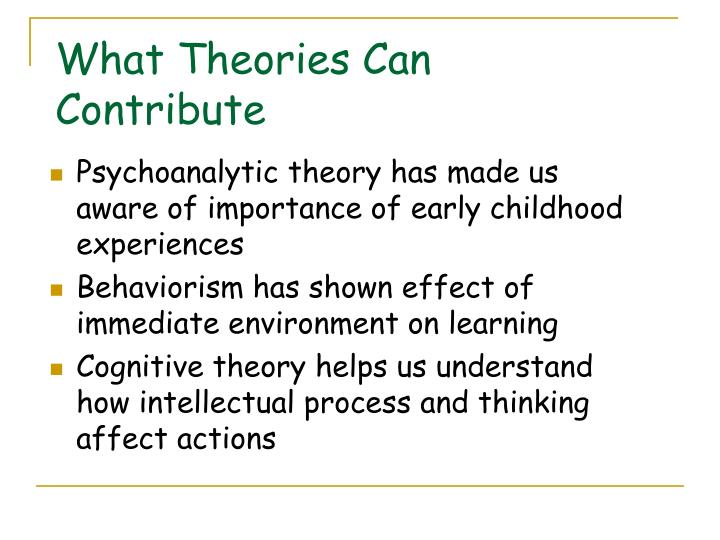 What Theories Can Contribute