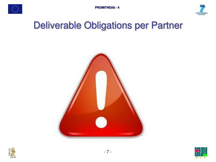 Deliverable Obligations per Partner