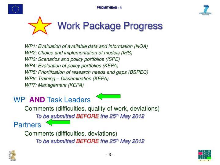 Work Package Progress