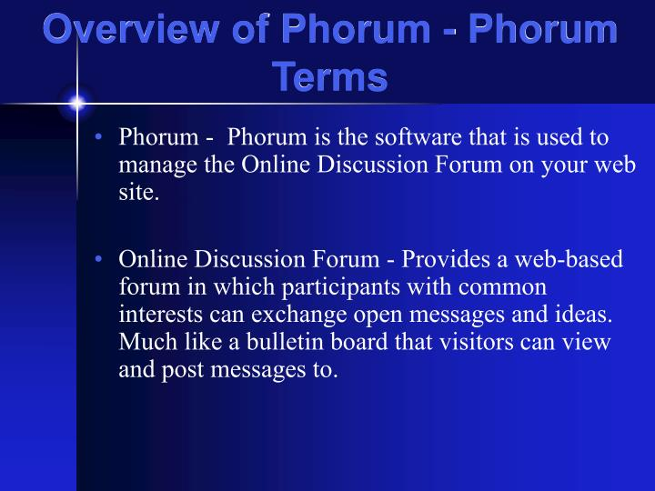 Overview of Phorum - Phorum Terms