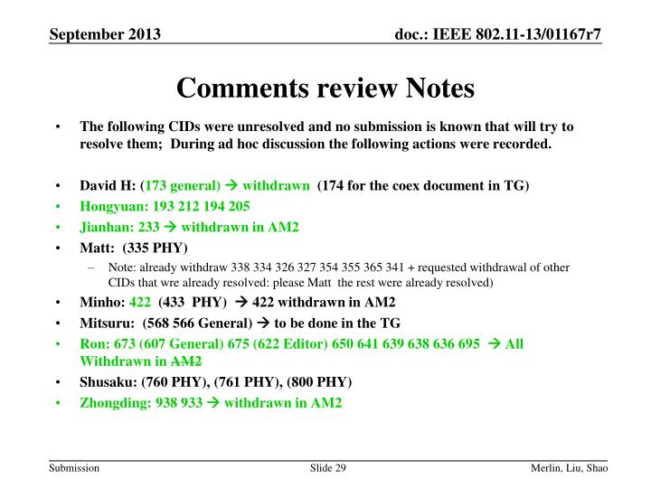 Comments review Notes